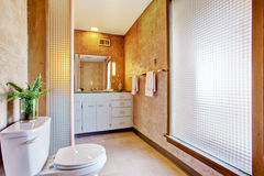 Bathroom interior with large window Stock Images