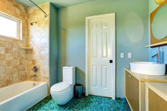 Bathroom interior in light blue with tile wall trim Royalty Free Stock Image