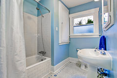 Bathroom interior in light blue tones with shower bath tub Stock Photo