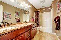 Bathroom interior in light mocha color Royalty Free Stock Photo