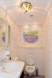 Bathroom interior in light tones with a wall list. Provence styl Royalty Free Stock Photos