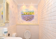 Bathroom interior in light tones with a wall list. Provence styl Royalty Free Stock Photography
