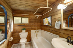 Bathroom interior in a luxurious log cabin. stock image