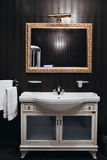 Bathroom interior mirrors and washbasin Stock Image