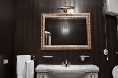 Bathroom interior mirrors and washbasin Royalty Free Stock Images