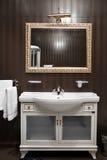 Bathroom interior mirrors and washbasin Royalty Free Stock Image