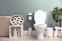Bathroom interior with new ceramic bowl. Bathroom interior with new ceramic toilet bowl royalty free stock image