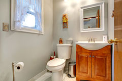 Bathroom interior with new vanity cabinet and mirror Stock Photos