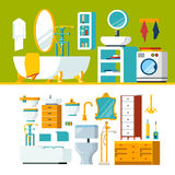 Bathroom interior object constructor template vector icon set Royalty Free Stock Photography