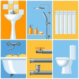 Bathroom interior. Plumbing background. Illustration for sanitary engineering shop. Sale, service and installation Stock Photography