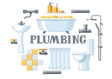 Bathroom interior. Plumbing background. Illustration for sanitary engineering shop. Sale, service and installation Royalty Free Stock Image