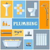 Bathroom interior. Plumbing background. Illustration for sanitary engineering shop. Sale, service and installation Royalty Free Stock Photo