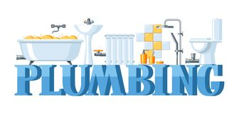Bathroom interior. Plumbing banner. Illustration for sanitary engineering shop. Sale, service and installation Royalty Free Stock Images