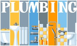 Bathroom interior. Plumbing banner. Illustration for sanitary engineering shop. Sale, service and installation Stock Images