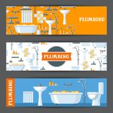 Bathroom interior. Plumbing banners. Illustration for sanitary engineering shop. Sale, service and installation Royalty Free Stock Photography