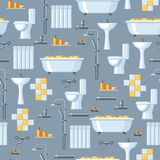 Bathroom interior. Plumbing seamless pattern. Background for sanitary engineering shop. Sale, service and installation Royalty Free Stock Images