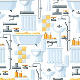 Bathroom interior. Plumbing seamless pattern. Background for sanitary engineering shop. Sale, service and installation Royalty Free Stock Image