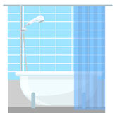 Bathroom interior poster or promo flyer bathtub in the house vector illustration. Royalty Free Stock Image