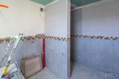 Bathroom interior at renovation Stock Images