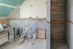Bathroom interior at renovation Royalty Free Stock Image