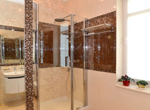 Bathroom interior, shower cabin. Apartament Royalty Free Stock Photo