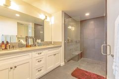 Bathroom interior with shower separated from the vanity area by a glass door. The vanity has wood cabinets, double sink, and large mirror royalty free stock photo