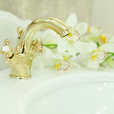 Bathroom Interior - sink and faucet closeup Royalty Free Stock Images