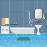 Bathroom interior with sink and mirror. background stock illustration