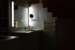 Bathroom interior with sink and mirror. Modern bathroom interior with sink and mirror royalty free stock images