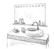 Bathroom interior sketch. Washbasin and mirror. Royalty Free Stock Image
