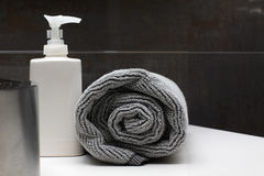 Bathroom interior - soap and towel Stock Image