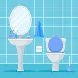 Bathroom interior with toilet bowl, washbasin and mirror. Flat style vector illustration Stock Images