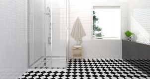 Bathroom interior,toilet,shower,modern home design clean wall 3D Illustration for copy space white background. Bathroom interior,toilet,shower,modern home design Royalty Free Stock Photos