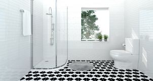 Bathroom interior,toilet,shower,modern home design 3D Illustration for copy space background white tile bathroom. Bathroom interior,toilet,shower,modern home Royalty Free Stock Photography