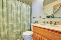 Bathroom interior with vanity cabinet, toilet and shower curtain. Stock Image