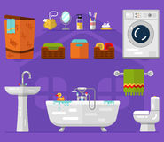 Bathroom interior. Vector flat icons set of bathroom interior. Washing machine, boxes with towel, sink, bath, toilet, laundry basket, mirror, toothbrushes, soap Royalty Free Stock Photo