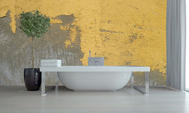 Free Bathroom Interior With Feature Grunge Yellow Wall Stock Images - 59015894