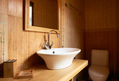 Bathroom interior wooden elements royalty free stock images