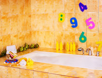 Bathroom interiror and bath items. Royalty Free Stock Photography