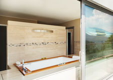Bathroom with jacuzzi from the terrace Stock Photography