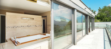 Bathroom with jacuzzi from the terrace Stock Image