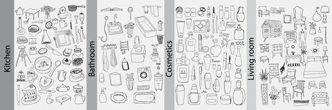 Bathroom, kitchen, furniture and cosmetics objects royalty free illustration
