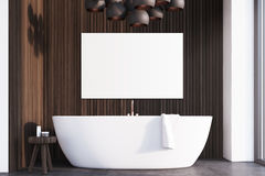 Bathroom with lamps, dark wood, poster Royalty Free Stock Image