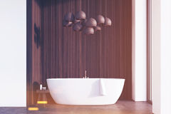 Bathroom with lamps, dark wood, toned Royalty Free Stock Images