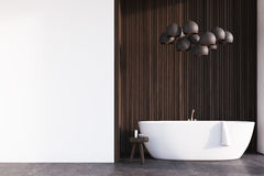 Bathroom with lamps, dark wood, wall Stock Images