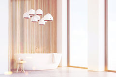 Bathroom with lamps, light wood, corner, toned Royalty Free Stock Photography