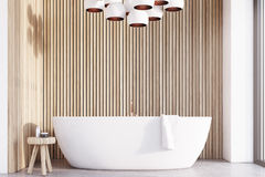 Bathroom with lamps, light wood, front Stock Photo
