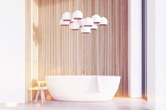 Bathroom with lamps, light wood, toned Stock Image