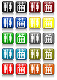 Bathroom and lift signs. Colorful bathroom and lift sings Stock Photos
