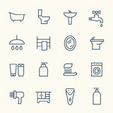Bathroom line icons Royalty Free Stock Image